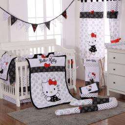 Hello Kitty Black Crib Bedding Set (4PC Bedding Set + 1 x Hamper)