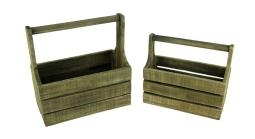 Set of 2 Primitive Country Farmhouse Wooden Decorative Baskets