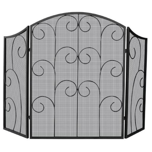 3 Panel Black Wrought Iron Screen With Decorative Scroll