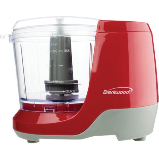 Brentwood appliances mc-109r 1.5-cup mini food chopper (red) 100 watts .Safe and simple operation .Stainless steel blades .Compact design .Safety lock bowl .Antislip feet .Dishwasher-safe parts .BPA-free .cETL(R) listed.1-year manufacturer warranty .Includes motor, work bowl, lid, blades, and instruction manual .Red.1.5-Cup Mini Food Chopper (Red)
