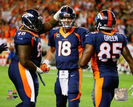 Peyton Manning becomes the NFL's All-Time leader in career Touchdown Passes- October 19, 2014 Photo Print
