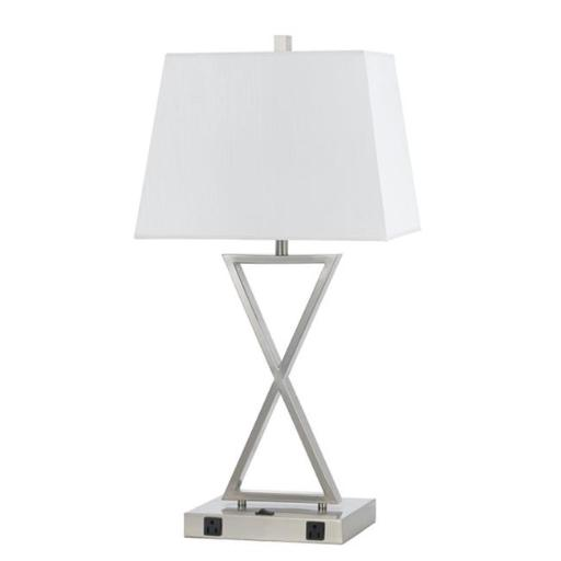 Cal Lighting LA-8023NS-1-BS 60W Metal Night Stand Lamp with Rocker Switch and 2 Outlets - 28 in.