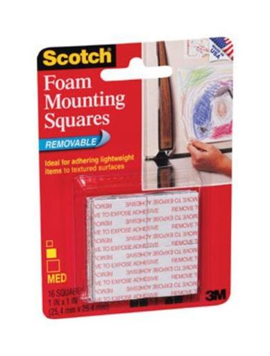 """Scotch 108 Removable Foam Mounting Squares, 1"""" X 1"""""""