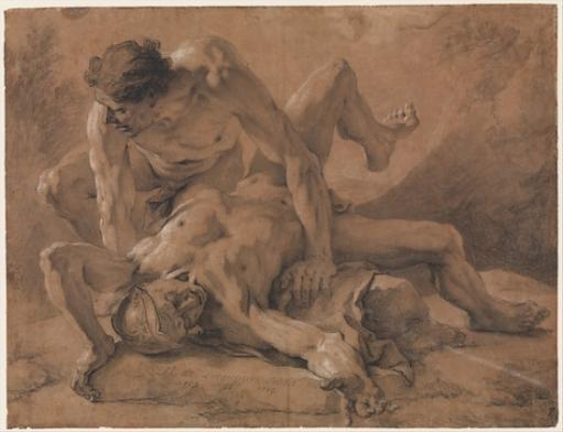 Two Nude Male Figures Struggling Together Poster Print by Nicolas de Largillierre (18 x 24) WIXACIOSZI2VHDGO