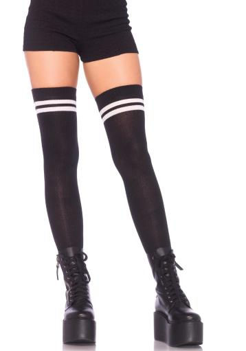 Ribbed Athletic Thigh Highs White and Black, White and Green, White and Orange, Red and White, Yellow and White, Purple and White, White and Royal.