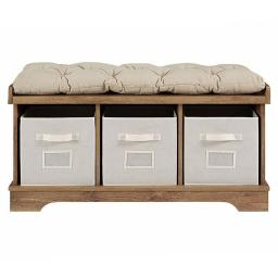 Walker Edison B42STCBW 42 in. Wood Storage Bench with Totes & Cushion - Barnwood