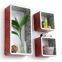 Vivid Zebra Stripe Rectangle Leather Wall Shelf / Floating Shelf (Set of 3)