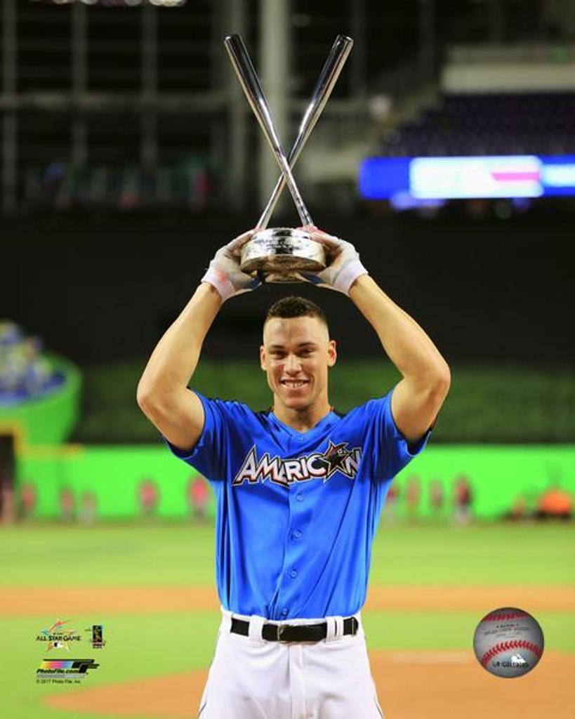 Aaron Judge with the 2017 MLB All-Star Game Home Run Derby Champion Trophy Photo Print