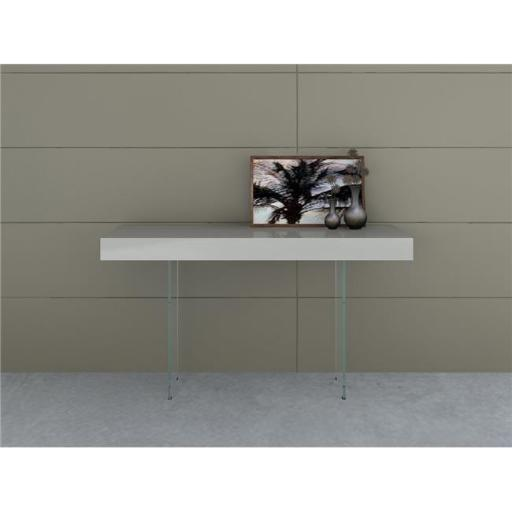 Casabianca Furniture CB-111-G-CONSOLE Il Vetro Console Table, Gray Lacquer - 29.5 x 55 x 16 in.