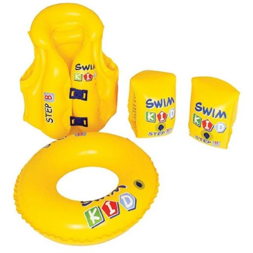 Pool Central 32599230 4 Piece Inflatable Yellow Swim Kid Childrens Swimming Pool Float Learning Set
