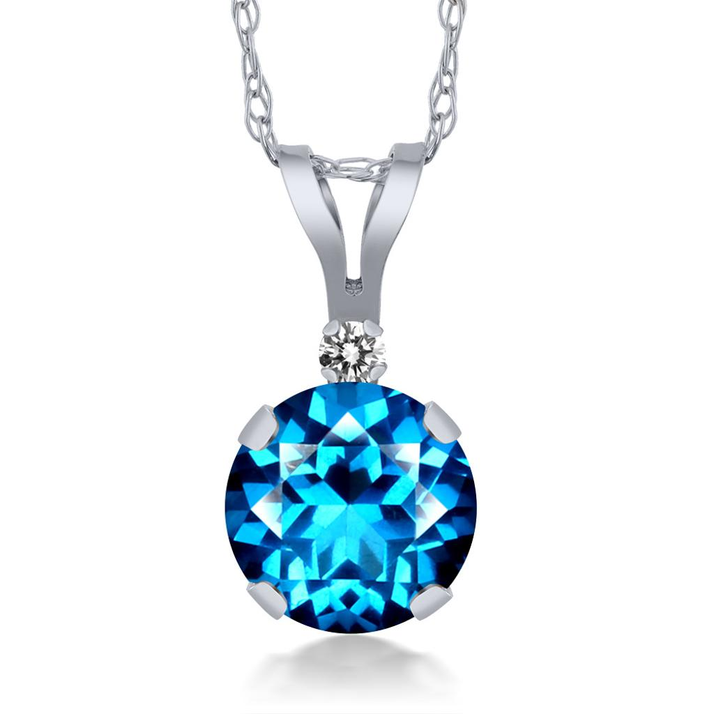 14K White Gold Diamond Pendant Set with Kashmir Blue Topaz from Swarovski