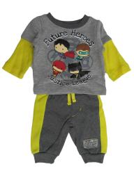 DC Comics Baby Boys Gray Justice League Long Sleeve Top Joggers Outfit NB-24M