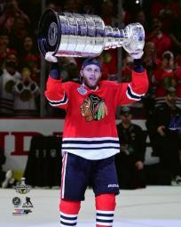 Patrick Kane with the Stanley Cup Game 6 of the 2015 NHL Stanley Cup Finals Photo Print PFSAASD13801