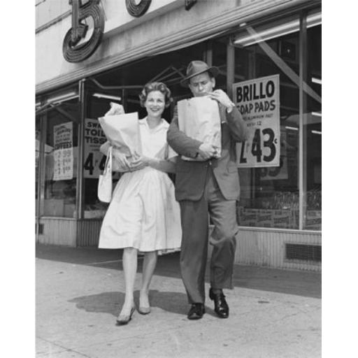 Posterazzi SAL25543748 Mid Adult Couple Carrying Shopping Bags in Front of a Store Poster Print - 18 x 24 in.