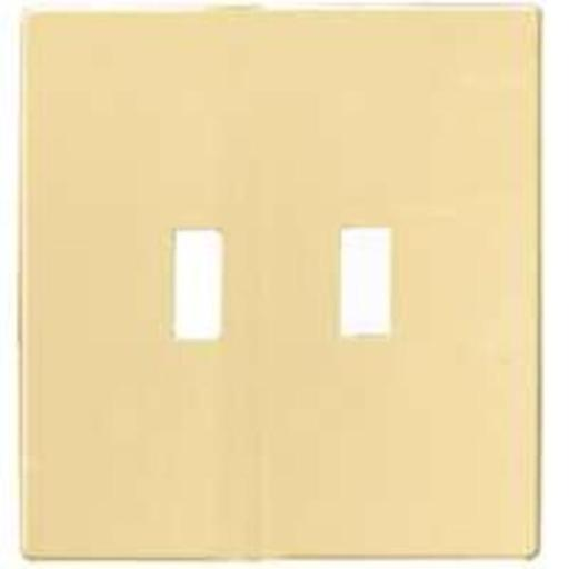 Cooper Wiring Pjs2v 2-gang Screwless Toggle Switch Mid Size Wall Plate, Ivory