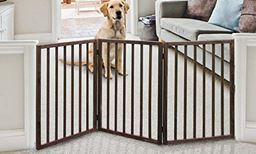 Wood Pet Gate – Tall Dog Gate – Dog Gates for Doorways, Stairs, Hallways – Freestanding Gate for Dogs - Wooden Dog Gate Tall