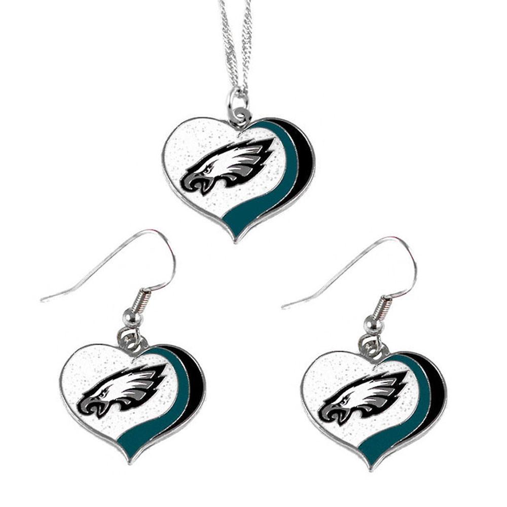 41ff8025f NFL Philadelphia Eagles Sports Team Logo Glitter Heart Necklace and Earring  Set Charm Gift