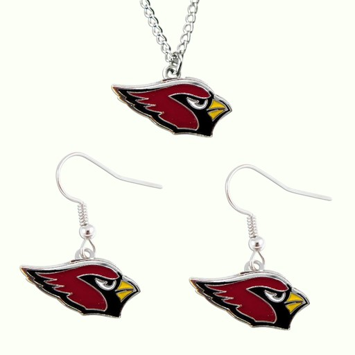 Sports Team Logo Arizona Cardinals Dangle Earring and Necklace Set NFL Charm Gift