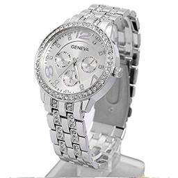 Happy Hours - Bling Unisex Bling Crystal Quartz Leisure Wrist Watch / Luxury Geneva Alloy Band Classic Round Leisure Watches with a Button Battery(Sliver)