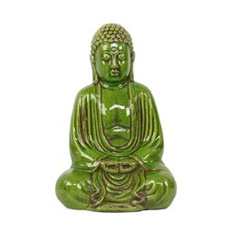 Urban Trends  Ceramic Meditating Buddha Figurine with No Ushnisha in Dhyana Mudra Distressed Gloss Finish Green