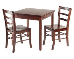 Winsome Pulman 3 Piece Set Extension Table with 2 Ladder Back Chairs in Walnut Finish