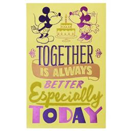 American Greetings Romantic Mickey and Minnie Mouse Birthday Greeting Card with Foil