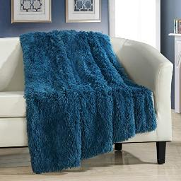 Chic Home Elena Throw Blanket Cozy Super Soft Ultra Plush Decorative Shaggy Faux Fur with Micro Mink Backing50? X 60?, 50 X 60, Teal