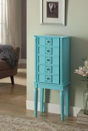 5 Drawer Jewelry Armoire with Flip Top Mirror and Fluted Legs, Blue