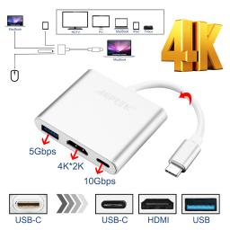 New Type C USB 3.1 to USB-C 4K HDMI USB 3.0 Adapter 3 in 1 Hub For Macbook Pro