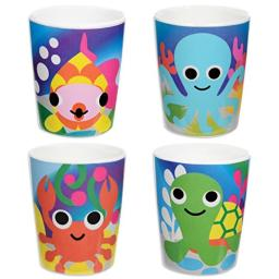 French Bull Kids Juice Cup Set of 4 - BPA-Free, Transition, Animals, Toddler, Durable, Drop Resistant - Ocean