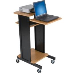 "BALT Audio Visual Adjustable Presentation Cart, Teak Black, 40.25""H x 18""W x 30""D"
