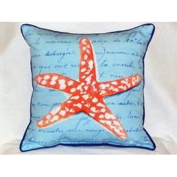 Betsy Drake Coral Starfish Blue 18-inch Indoor/Outdoor Pillow