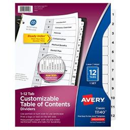 Avery Jan-Dec Tab 3-Ring Binder Dividers, Customizable Table of Contents, Classic White Tabs, 1 Set (11140)