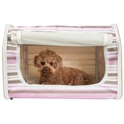 Folding Zippered Lightweight Wire-Framed Easy Folding Pet Crate, Stripe Pattern,