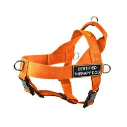 Dean & Tyler DT Universal No Pull Dog Harness with Certified Therapy Dog Patches, X-Small, Orange