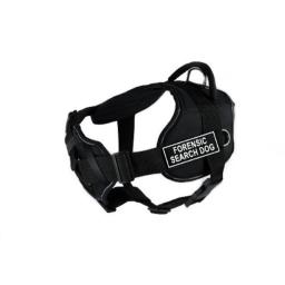 Dean & Tyler Fun Works Forensic Search Dog Harness with Padded Chest Piece, Medium, Fits Girth Size: 28-Inch to 34-Inch, Black with Reflective Trim