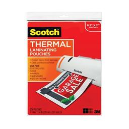 "Scotch Thermal Laminating Pouches, 8 1/2"" x 11"", Clear, Pack of 25"
