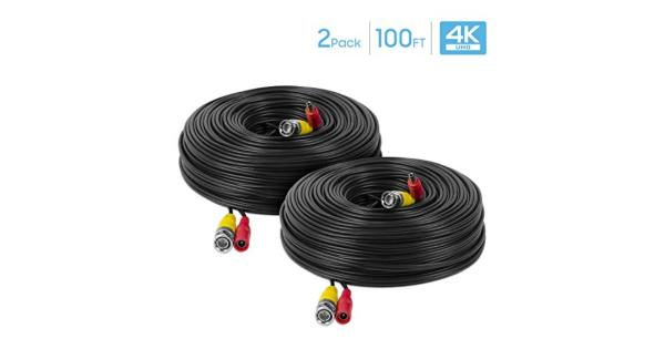 Amcrest 2-Pack 4K Security Camera Cable 100FT BNC Cable Camera Wire CCTV Pre-Made All-in-One Video and Power Cable for Security Camera HDCVI HDTVI... Amcrest 2-Pack 4K Security Camera Cable 100FT BNC Cable Camera Wire CCTV Pre-Made All-in-One Video and Power Cable for Security Camera HDCVI HDTVI Camera Analog DVR (2PACK-SCABLE4K100B-PP)