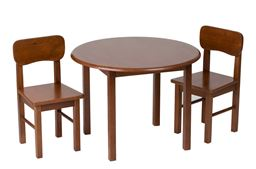 Gift Mark Childern's Natural Hardwood Round Table and Chair Set  - Cherry Finish