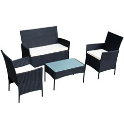 4 pcs Outdoor Rattan Wicker Cushioned Seat with a Loveset
