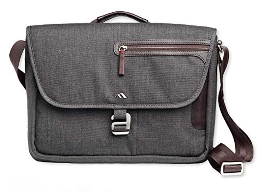 Brenthaven Collins Horizontal Messenger Bag with Quick Access Phone Pocket Fits 13 Inch Laptops, Chromebooks and Tablets for Commercial, Business and Office Essentials-Graphite, Rugged Protection
