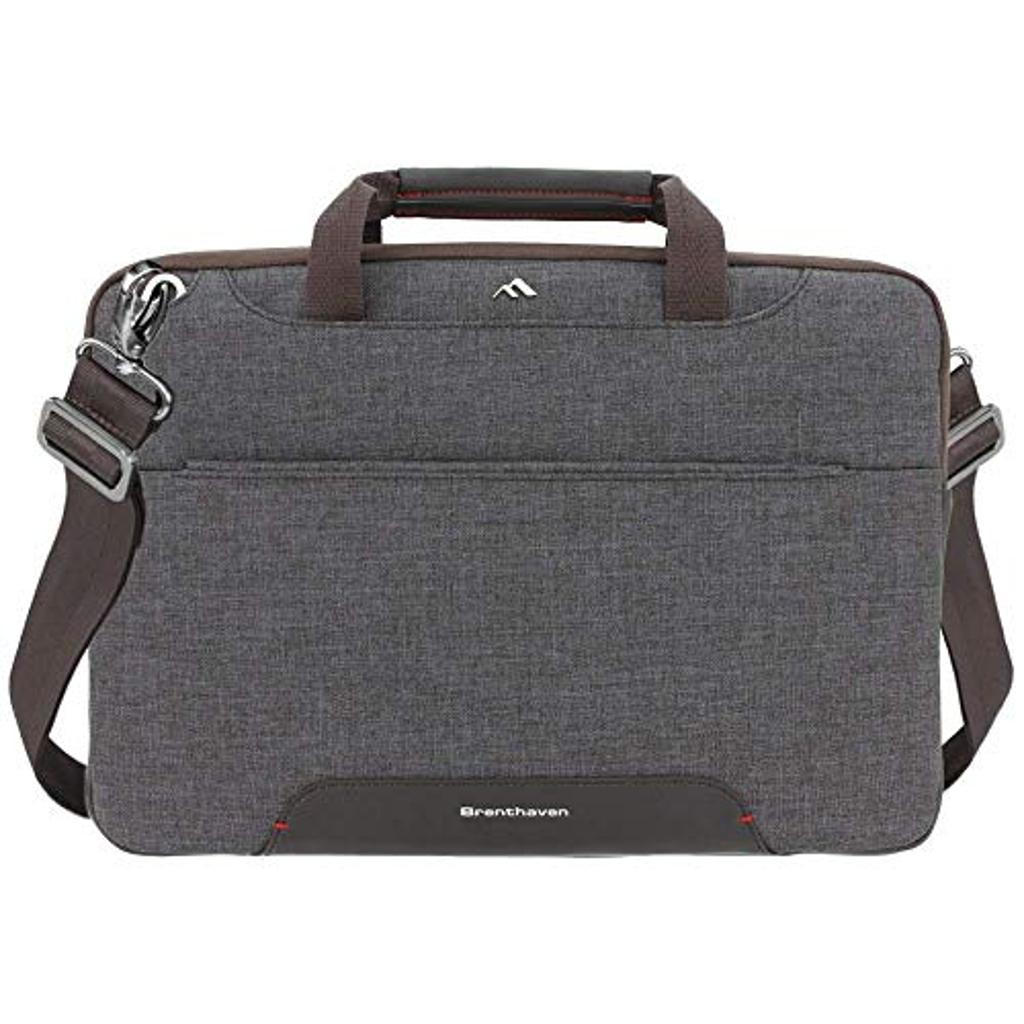 Brenthaven Collins Carry Case Convertible Laptop Shoulder Messenger Bag Sleeve, Fits 14 inch Slim Devices for Office - Graphite, Durable Padded Rugged Protection with Tuck Away Pouch and Pen Slot