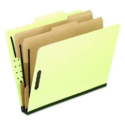 Pendaflex Classification Folders, Letter Size, 2 Dividers, Apple Green, 2/5 Cut, 10/Box (1257G)