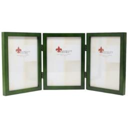 Lawrence Frames Collection Hinged Triple Wood Picture Frame Gallery, 5 by 7-Inch, Green