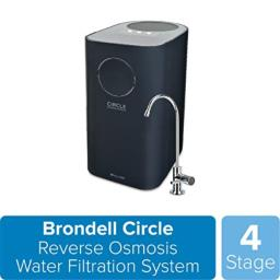 Brondell Circle Reverse Osmosis System, Under Sink, Black - 4 Stage RO Water Designer Chrome Faucet- Quick Change Filter, WQA Gold Seal-Certified