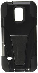 Amzer Double Layer Rugged Hybrid Case Cover with Kickstand for Samsung GALAXY S5 mini SM-G800 - Retail Packaging - Black