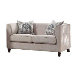Fabric Upholstery Loveseat With Button Tufted Backrest And Sides, Light Gray