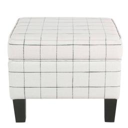 Wooden Ottoman with Grid Patterned Fabric Upholstery and Hidden Storage, White and Black