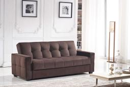 Sofa With Storage And Pocket Coil Spring Cushion, Dark Brown