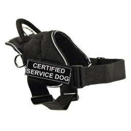 DT Fun Works Harness, Certified Service Dog, Black With Reflective Trim, Large - Fits Girth Size: 32-Inch to 42-Inch